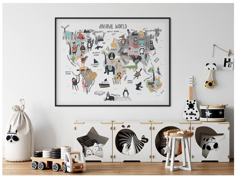 Tablouri cu harta lumii cu animale pentru copii