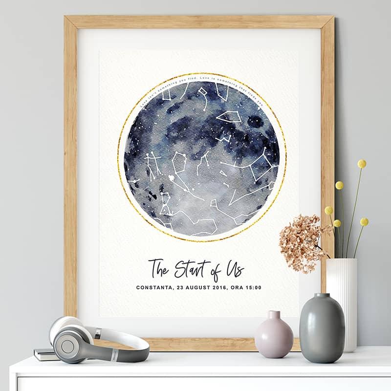 Harta stelelor  personalizata in stil watercolor