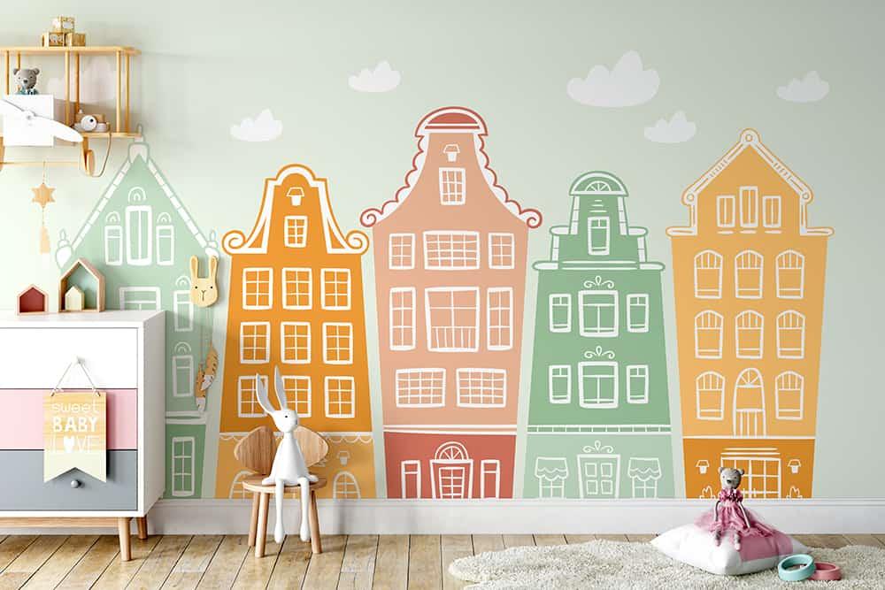 Foto Tapet Camera Copiilor Casute Simpatice Colorate