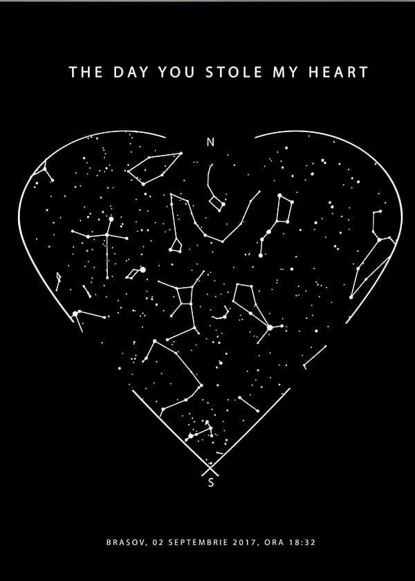 Tablou personalizat cu harta stelelor Heart