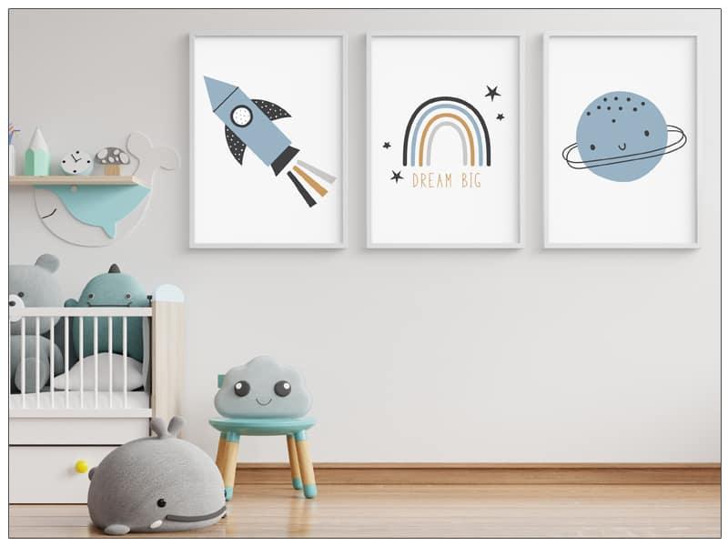 Tablou copii cu racheta, curcubeu si planete