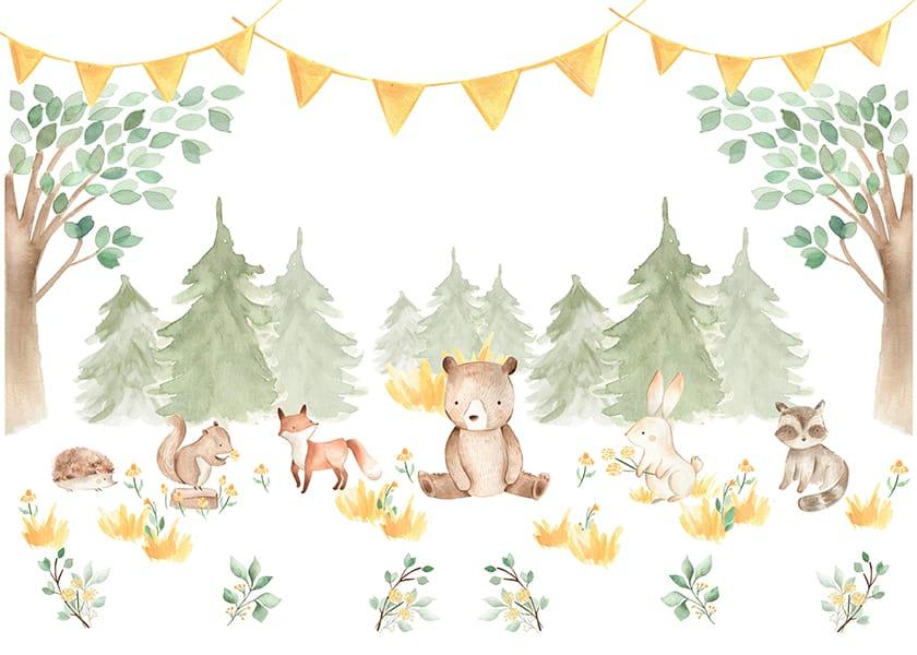 Foto Tapet Camera Copiilor cu ursuleti si animalute personalizat animale din savana jungla