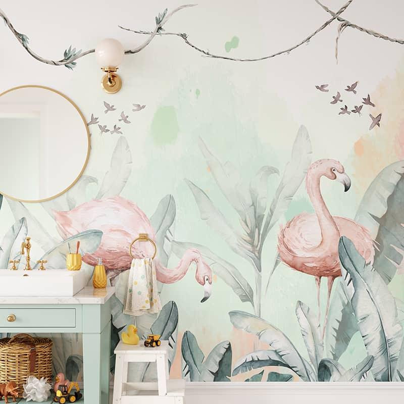 Foto Tapet Camera Copiilor cu ursuleti si animalute personalizat flamingo jungla tropical