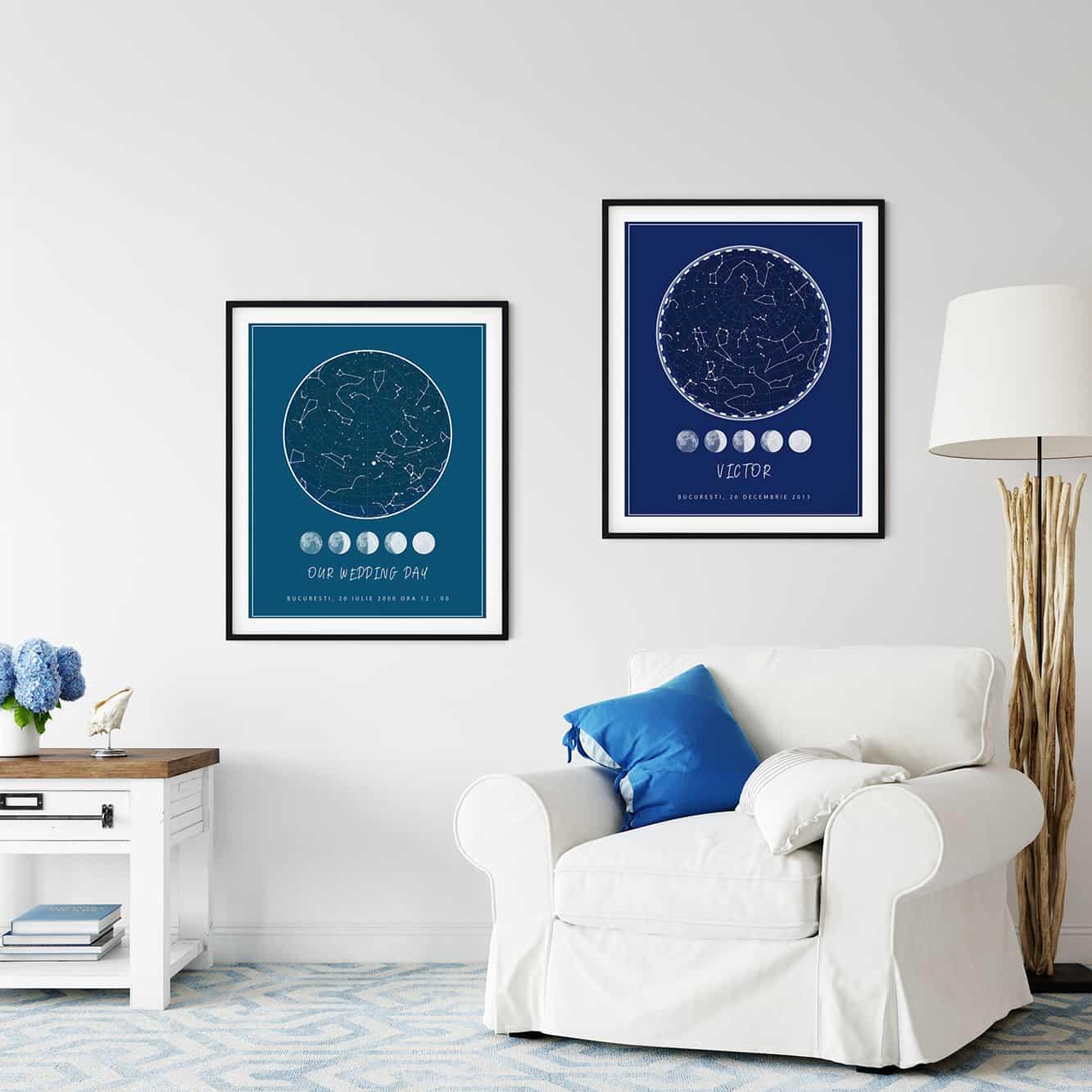 Tablou personalizat harta stelelor, harta cerului