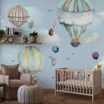 Tapet camera copiilor baloane si animalute