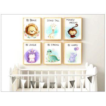 Tablou cu animalute pentru camera copilului