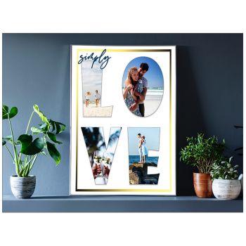 Tablou colaj personalizat cu fotografiile tale sub forma cuvantului LOVE