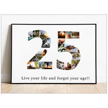 Tablou colaj personalizat cu fotografii sub forma unui numar