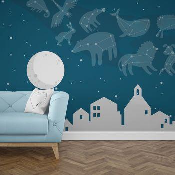 Foto Tapet Camera Copiilor Stele si luna