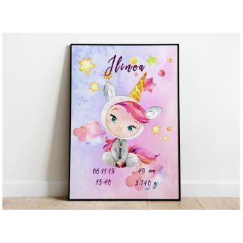 Tablou cu unicorn pentru nou nascuti