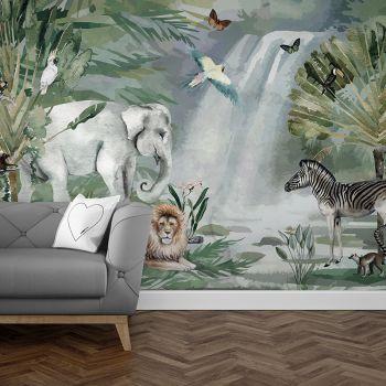 Foto Tapet Camera Copiilor Animale din jungla