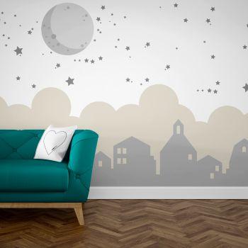 Foto Tapet Camera Copiilor cu Luna si Stelele