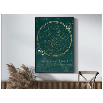 Tablou personalizat cu harta stelelor watercolor