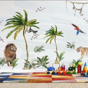 Foto Tapet Camera Copiilor animale din savana jungla