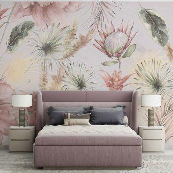 Foto Tapet Tropicana cu flori si frunze exotice