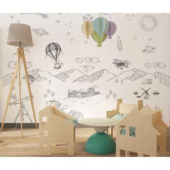 Foto Tapet Camera Copiilor Personalizat Planete, masinute, baloane