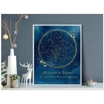 TTablou personalizat harta stelelor, harta cerului, watercolor