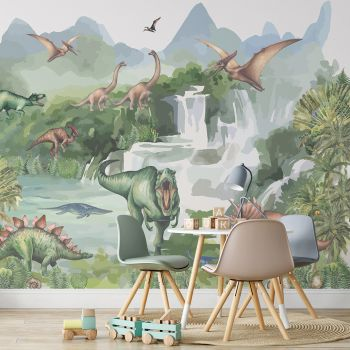 Foto Tapet Camera Copiilor cu dinozauri