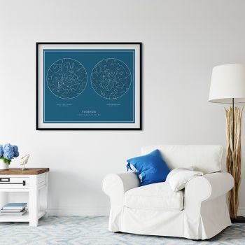 Tablou personalizat cu harta stelelor DUO | 2 MOMENTE SPECIALE