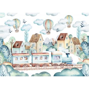 Foto Tapet Camera Copiilor trenulet Baloane cu aer cald