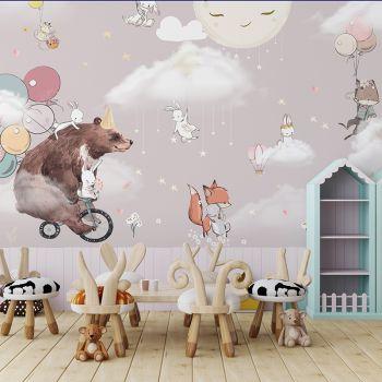 Foto Tapet Camera Copiilor ursulet, baloane, iepurasi
