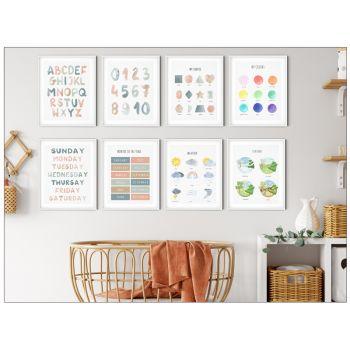 Tablouri pentru copii cu alfabet, numere, forme