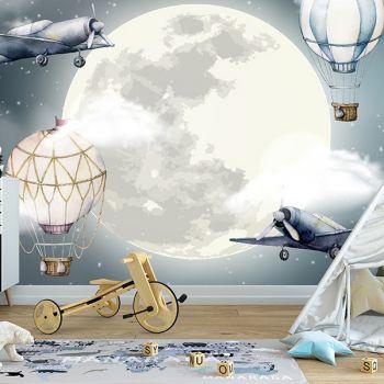 Foto Tapet Camera Copiilor Luna Stele Avione Baloane cu aer cald