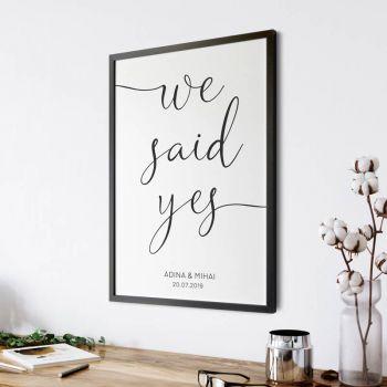 Tablou personalizat cu data nuntii | We said yes