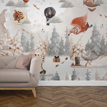 Foto Tapet Camera Copiilor cu baloane cu aer cald, iepurasi